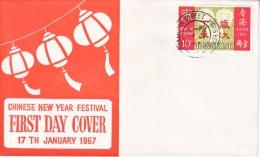 Hong Kong FDC  COVER  NEW  YEARS  1967 - Hong Kong (...-1997)