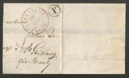 Belgique - Fragment De Lettre Cachet Poperinghe Du 29/05/1850 En Rouge + Boîte X En Noir - 1830-1849 (Belgique Indépendante)