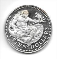 10 Dollars Argent Silver 38 Gr. Barbados 1973 - Barbades