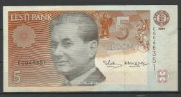 Estland Estonia Estonie 5 Krooni 1994 Banknote Bank Note Schach Chess PAUL KERES UNC - Estonia