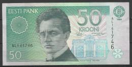 Estland Estonia Estonie 50 Krooni 1994 Banknote Freimaurer All-Sehende Auge Rudolf Tobias UNC - Estonia