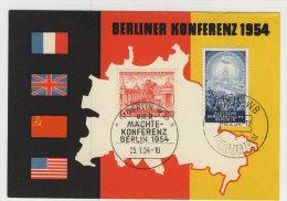 Berlin Michel No. 116 + DDR No. 424 auf Karte Berliner Konerenz 1954