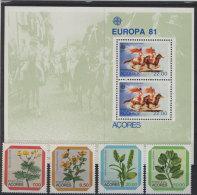 Portugal Azoren Block 2 + Michel No. 345 - 348 ** postfrisch