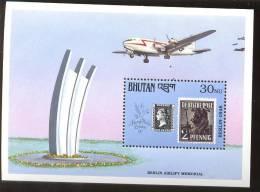 MNH BHUTAN # 907 : SOUVENIR SHEET STAMPS OLD STAMPS ; PENNY BLACK ; POSTAL HISTORY ; AIRPLANES - Bhutan