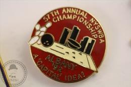 Bowling 57th Annual NYSWBA Championship - Albany 92  - Pin Badge  - #PLS - Bowling
