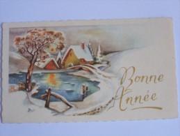 BONNE ANNEE PETITE CARTE  LA ROSE 2028 PAYSAGE DE NEIGE MARE PETIT PONT - Neujahr