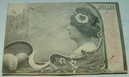 CPA - Calendrier 1904 - Mois De Juillet - Mujeres