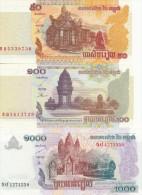 CAMBODGE Lot De 3 Billets UNC - Cambodge
