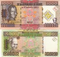 GUINEE Lot De 2 Billets UNC - Guinée
