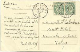 CP AVEC PAIRE 5c BLANC TAD TIRETE DE VILETTE AIN POUR L'ETRANGER - Marcophilie (Lettres)