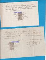 2 Reçus Avec Timbre Fiscal De Quittance 10 C - L´ ISLE ADAM - Juin 1902 - Travaux - Fiscaux