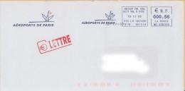 EMA MD 638358 Roissy CDG CCT1 Val D Oise 95 + Flamme Aéroports De Paris Sur Env ADP - Tour Eiffel - EMA ( Maquina De Huellas A Franquear)