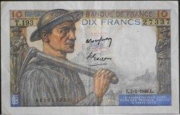 FRANCE 1 BILLET De BANQUE De 10Francs Type Mineur - L.7=4=1949.L. - 1871-1952 Circulated During XXth