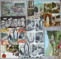 Lot 34 Cpa  +  5 Cpsm Lourdes Souvenir Bonjour Amitiés  Multi Vues Grotte Litho Etc  Voir 7 Photos Pour Timbre Et Flamme - Greetings From...