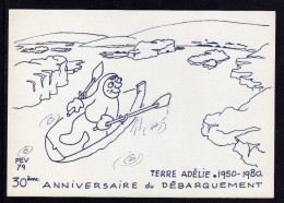 TAAF Terre Adélie Carte P.E. Victor 30EME ANNIVERSAIRE DU DEBARQUEMENT - TAAF : Terres Australes Antarctiques Françaises