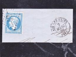 FRAGMENT AFFRANCHI N° 22 OBLITERATION GROS CHIFFRES 42- AIX LE BAINS-1868