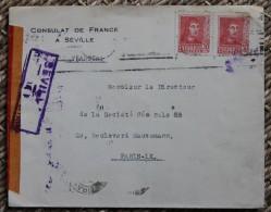 Enveloppe Affranchie Pour Paris Oblitération Séville Espagne Censure - Marcas De Censura Nacional