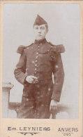 Photo Portrait Homme Militaire, Em. Leyniers, Anvers Rue Bréderode 6.5 X 10.5 Cm - Fotos