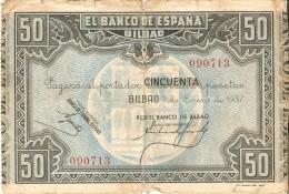 BILLETE DE ESPAÑA 50 PTAS DEL BANCO DE BILBAO 1937 BANCO DE BILBAO   (BANKNOTE) - [ 3] 1936-1975 : Régence De Franco