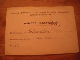 Carte Membre Bienfaiteur Centre D'accueil Légion étrangère 1945 - Documents