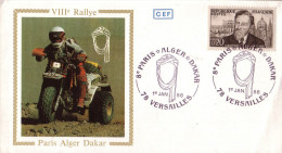 Enveloppe  8éme  Rallye  PARIS  ALGER  DAKAR         VERSAILLES     1986 - Moto