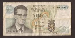 België Belgique Belgium 15 06 1964 20 Francs Atomium Baudouin. 2 J 6494872 - 20 Francs