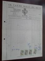 Th. Van De WIELE - DE METS  Te ZELE 1958 / Tax Zegels ( Zie Foto Voor Details )! - Alimentaire