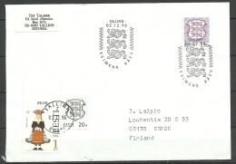 ESTLAND Estonia Estonie 1996 FDC Sent To Finland - Estland