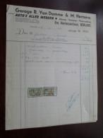 Garage R. Van DAMME & M. MERTENS Te BERLARE 1959 Dubbele Factuur / Tax Zegels ( Zie Foto Voor Details )! - Cars