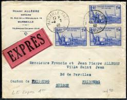 FRANCE LETTRE EXPRÈS - N° 458 ( 3 ) / LETTRE DE MARSEILLE LE 4/7/1940, POUR LA SUISSE - TB - Tariffe Postali