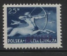 POLAND 1950 GROSZY OVERPRINT (VIOLET) T12 (POZNAN 4) ON 25ZL AIRMAIL CENTAUR Fi445 MiA586 NHM - Nuovi