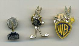3 Pin's Cinema . American Majors. Warner Bros. Columbia Pictures. Cartoon. Bugs Bunny.Titi. Pins - Cinéma