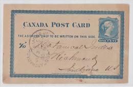 Entier Postal Canada Post Card 1880 Arthabaska Ville Québec Pour Richmond - 1860-1899 Reign Of Victoria