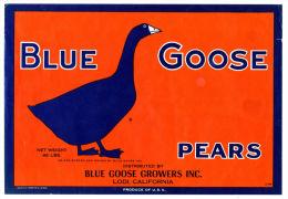 Étiquette De Caisse Fruits BLUE GOOSE PEARS . Poires Californie. Lodi California. Produce Of USA - Fruits & Vegetables