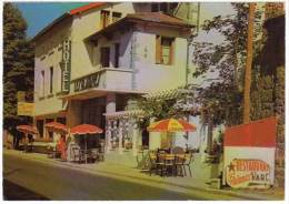 Montfaucon En Velay, Hôtel Les Platanes (parasol Bières La Meuse) - France