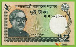 Voyo BANGLADESH 2 Taka 2011 P52 B207a  Prefix ক ব UNC Shahid Minar - Bangladesh