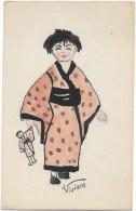 Illustration  Illustrateur  Peint à La Main Dessin Geisha  Fillette Et Sa Poupée  /15874 - 1900-1949