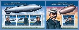 gu13624ab Guinea 2013 175th aniverasry of Ferdinand von Zeppelin 2 s/s