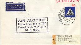 1er Vol Frankfurt Algier Alger 1972 - Air Algérie - Erstfluf First Flight - Boeing - Algérie (1962-...)