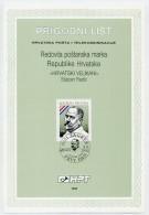 CROATIA 1992 Famous Personalities On 2 First Day Sheets (ETB).  Michel 191-92 - Croatia