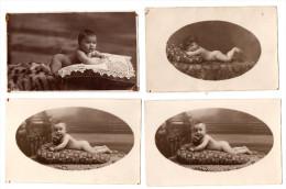 Lot De 4 Cartes-photo : Portraits De Bébés Nus - Portraits