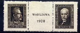 POLAND 1928 Warsaw Stamp Exhibition Singles From The Block LHM / *.  Michel 254-55 - 1919-1939 Republic