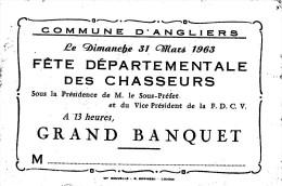 ¤¤  -  ANGLIERS (86)  -  MENU De La Fête Départementale Des Chasseurs En 1963 - Chasse  -  ¤¤ - Menus