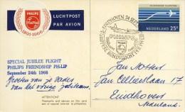 Geïllustreerde Briefkaart Speciale Vlucht Philips Friendship PH-LIP (24 September 1966) - Period 1949-1980 (Juliana)