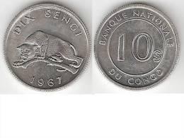 Congo Dem. Rep. 10 Sengis 1967 Km 7  Unc !!!! - Congo (Rép. Démocratique, 1964-70)