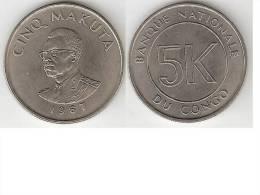 Congo Dem. Rep. 5 Mikutas 1967 Km 9   Unc   !!!! - Congo (Rép. Démocratique, 1964-70)