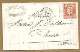 """Pas Connaisseur - 40c Orange """" Belles Marges"""" ,Obli. MONTELIMART 1857 - Lettre Avec Sa Correspondance - Postmark Collection (Covers)"""