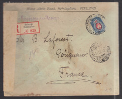 FINLANDE 1916 Usages Courants S/enveloppe Recommandée Censure Militaire - Covers & Documents