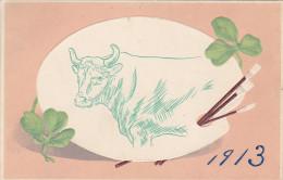 Art Postcard Of Cow $ Clover , Japan , 1913 - Non Classificati