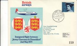 Dusseldorf Jersey Via Guernesey Guernsey 1975 - British Airways - First Flight Erstflug 1er Vol - Jersey